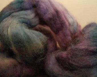 Alpaca Handpainted Roving Combed Top Superfine 100% PURPLEBLUE spin felt 56 gram