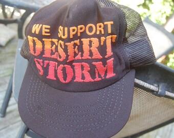 "Vintage ""We Support Desert Storm"" Trucker Cap Baseball Hat Snapback Adjustable"