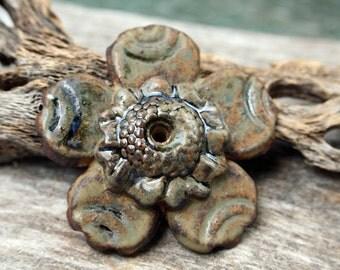 Handmade Stoneware Flower Pendant - On Sale