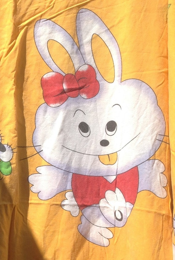 Happy Rabbit Babys Duvet Cover Twin Size with Pillow Case - 1980s - Vintage Linens and Fabric