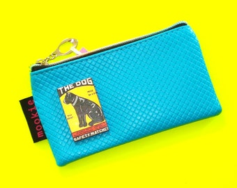 The Dog Deep Turquoise Vintage Matchbook Cover Blue Zippered Pouch Coin Purse Cosmetics Bag