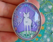Unicorn Necklace Purple Gift for Sister Girls Art Jewelry Oval Pendant Silver Plated Setting gift for little girl unicorn art pendant cute