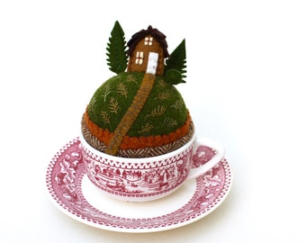 Teacup Pincushion Tiny World House on a hill