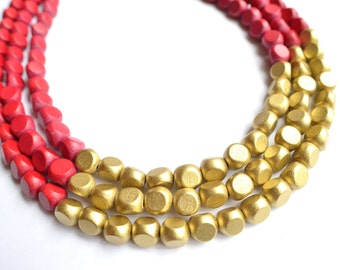 Lisa - Red Gold Wood Multi Strand Necklace