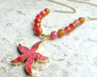 The Atlantis- Pink Agate Starfish Long Necklace