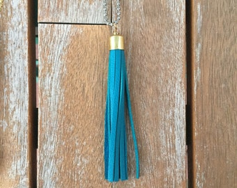 """Leather tassel necklace -- 42"""" GUNMETAL SILVER chain (in teal, brown, gray, natural)"""