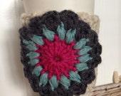 Coffee Cup Cozy Crochet Flower on Cream Sleeve, Holder, Tea, Latte Cozie, Turquoise, Hot Pink, Gray on Cream Sleeve