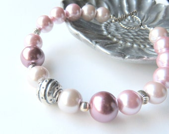 Pastel Pink Pearl Bracelet, Pink Pearl Boho Beaded Bracelet, Pink and Silver Pearl Jewelry, Mauve Glass Pearl Fashion Bracelet, Gift for Her