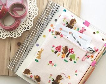 Cute Hedgehogs Print Planner Bag, Planner Pocket Pouch, Planner Accessories - Fits Erin Condren Life Planner, Happy Planner, Etc.
