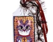 SALE Bastet Cat Bookmark Egyptian Goddess Bast Cat Bookmarker Egypt Fantasy Cat Art Mini Bookmark Gift For Cat Lover