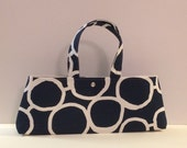 Ready to Ship The Hildegarde Modern Handbag Vintage Style- Navy with white circles 50s Retro