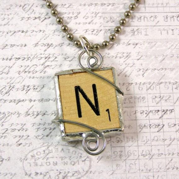 Scrabble Letter N Pendant Necklace