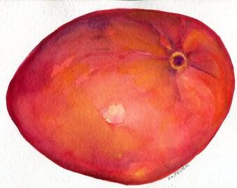 Mango Watercolor Paintings Original, 5 x 7, Tropical fruit artwork. kitchen, food art, original watercolor painting of mango Farmhouse Decor