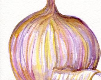 Garlic painting, Garlic watercolors paintings original, kitchen wall decor 5 x 7 garlic art. watercolor painting of garlic, illustration