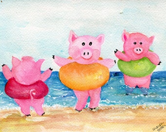 Pigs watercolor painting original, Pigs Playing at the Beach Painting. Pig Art, funny pigs art, pigs swim, pig decor, pigs painting, animal