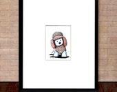 Framed ORIGINAL Art Drawing Winter Westie Terrier Dog ACEO
