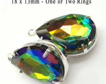 Vitrail Glass Beads, Pear Teardrop, Silver Plated Brass Settings, 18mm x 13mm, Rainbow, Rhinestone, Glass Gems, Cabochon, One Pair