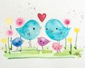 Small Family of Five Cute Birds original painting