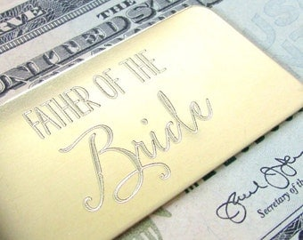 Money Clip | Father of the Bride Gift | Engraved Wedding Gift | Dad Gift for Wedding | Father of Bride Gift | Solid Brass | Gift for Him