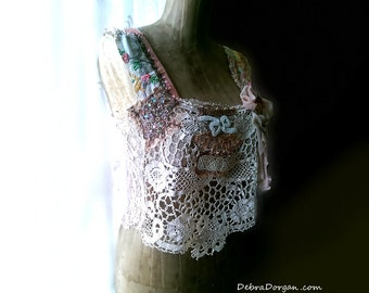 Antique Lace, Beaded Top, Vintage Embroidery, Soft Pink Lace, Chiffon Bow, Boho, Rustic