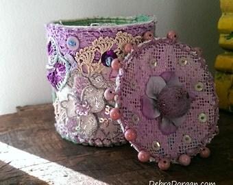 Textile Container, Vintage Lace, Lilac, Purple,  Storage, Vintage Textiles, Rustic Decor, Boho Decor