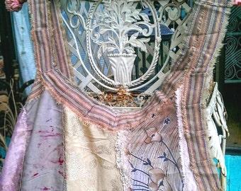 Faded Pink & Grey Dress, Over Dress, Vintage Fabrics, Asymmetrical, Silk, Lace, Cotton, Pinstripe, Boho