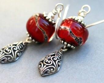 Lampwork Earrings, Glass Earrings, Sterling Silver Earrings, Dangle Earrings, Red Lampwork Earrings, Filigree Dangle