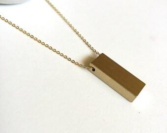 Brass bar necklace