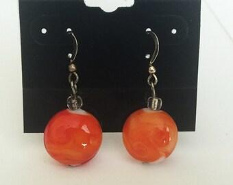 Earrings Orange Swirl Glass Bead Sterling Silver Earwire Hook E177