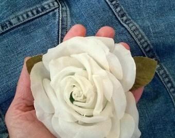 ON SALE Vintage 1960s Silk Flower White Rose Millinery Hat Supplies Boutonnière 20141020K105