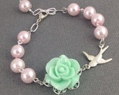 Mint Green Flower Pearl and Silver Swallow Bracelet Set Reserved for Elaine
