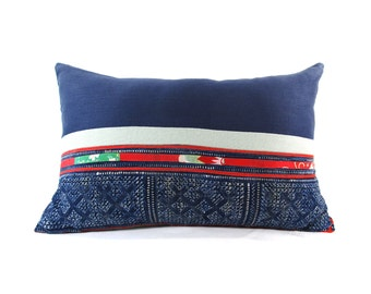 Hill Tribe Vintage Color Block Batik Pillow - Bohemian Lumbar Pillow - Boho Linen Decorative Pillow- Down Filler Included