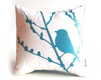 Teal Print on White Cotton Bird on Cherry Blossom Mini 10.5 Inches Square Pillow