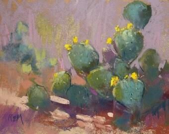Plein Air Landscape from Arizona,Sonoran Desert CACTUS Original Pastel Painting 5x7