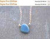 ON SALE Blue Opal Necklace Sterling Silver Natural Caribbean Opal Simple Blue Necklace Denim Blue Necklace Modern Blue Necklace Gifts for He