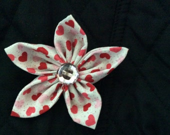 Valentine's Day Hearts Fabric Flower Brooch Pin