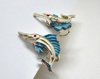 Swordfish Vintage Screw Style Earrings