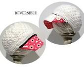 reversible crochet womens newsboy hat with Marimekko style fabric brim, wood buttons; womens newsboy hat; fabric brim hat; hat button brim