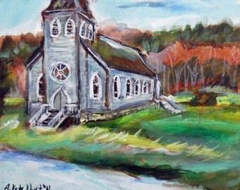 Little  country church chapel 10 x 8 original painting
