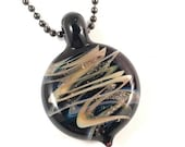 Cremation Jewelry - Glass Helix Pendant - With Gunmetal Ballchain Necklace