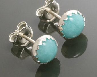 Amazonite Stud Earrings. Sterling Silver. Genuine Gemstone. Bezel Settings. 6mm Round. f15e009