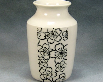Porcelain Bud Vase Hand Thrown Ceramic Bud Vase With Black and White design 6