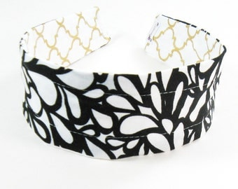 Wide Headband Reversible - Black Modern and Gold Metallic Quatrefoil