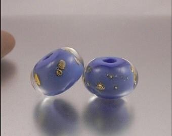 Ginnovations lampwork, Encased Periwinkle bead pair (2 beads)