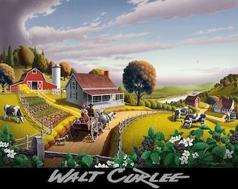 Folk Art Appalachian Blackberry Patch Amish Country Farm Life Landscape Print of Painting, Rural Americana Decor