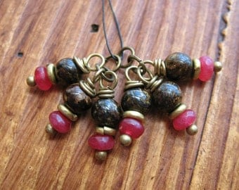Bronzite and Red Quartz Bead Charms - 1 Pair - 6 pieces