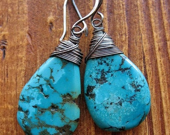 Large Turquoise Teardrop Earrings in Antiqued Sterling Silver