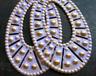 Lavender Brass Oval Hoop Findings - 1 pair