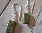 Agate & Swarovski Crystal Earrings; Sterling Silver Ear Wires