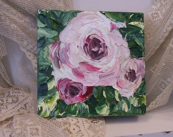 Country chic Roses oil painting on deep edge canvas in the impasto style of art, thick beautiful raised images